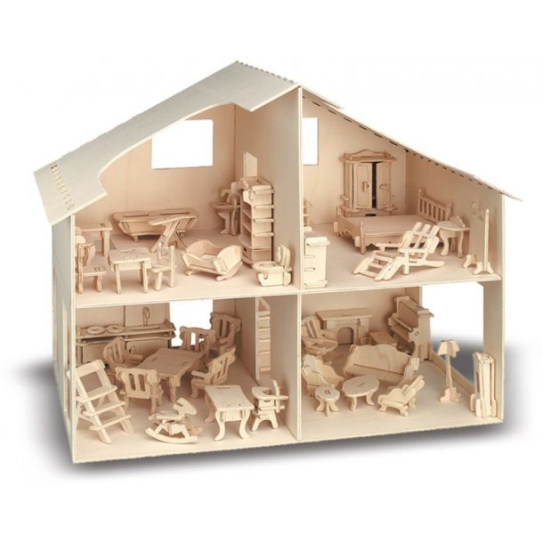 ''Byg Selv'' Dukkehus i træ med møbler
