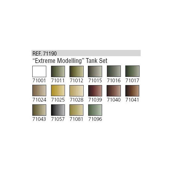"""""""Extreme Modelling"""" Tank Set (sæt med 16 farver)"""